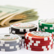 Poker chips and money — Stock Photo