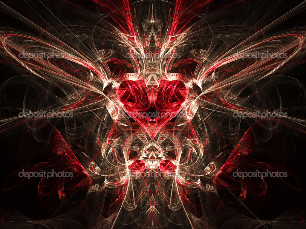 Bright fractal with heart — Stock Photo #1390828