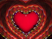Bright red fractal with heart — Stock Photo