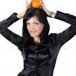 Pertty busisnesswoman with orange isolated — Stock Photo