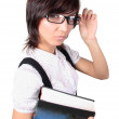 Attractive student with big book - Foto Stock