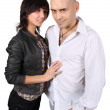Bald handsome man and pretty brunette isolated — Stock Photo