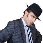 Retro businessman smoke a cigarette — Stock Photo