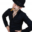 Stock Photo: Crazy man in black hat with cigar