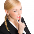 Blonde businesswoman show quiet sign — Stock Photo