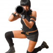 Young military female sighting grenade launcher — Stock Photo