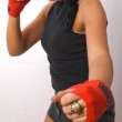 Boxing young military brunette female — Stock Photo