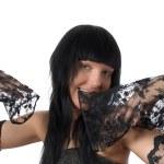 posing ziemlich Brünette Frauen isoliert — Stockfoto