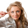 Stock Photo: Crazy young female in silver jacket isolated