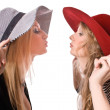 Kissing similar blonde sister isolated — Stock Photo #1338893
