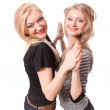 Similar blonde sister isolated — Stock Photo