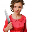 Crazy young female with big kitchen knife isolat — Stock Photo