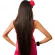 zadní štíhlá žena s dlouhými vlasy, samostatný — Stock fotografie