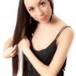 Slim schoolgirl with long hair isolated — Stock Photo