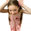 Funny little girl isolated — Stock Photo