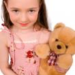 Baby with bear toy isolated — Stock Photo