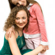 Happy mam and daughter isolated — Stock Photo #1339166