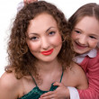 Happy mum with little daughter isolated — Stock Photo