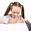 Drawing or writing little girl with tails isol — Stock Photo