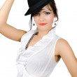 Portrait of  retro busisnesswoman in hat isolate - Stock Photo