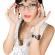 Alluring teacher  take off glasses isolated — Stock Photo