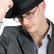 Closeup portrait of busisnessman in hat isolate — Stock Photo