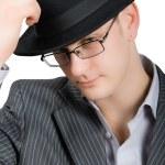 Closeup portrait of busisnessman in hat isolate — Stock Photo #1339628