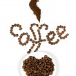 Text by coffee beans - Stock Photo