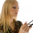 Blonde with makeup brushes isolated — Stock Photo #1339972