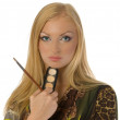 Blonde with makeup brushes isolated — Stock Photo #1339998