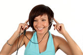 Young girl with head phones — Stock Photo