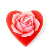 Rose heart candle — Stock Photo