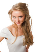 Beautiful young female in white dress — Stock Photo