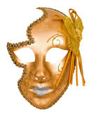 Golden carnival venetian mask — Stock Photo