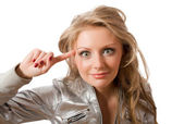 Crazy young female in silver jacket isolated — Stock Photo