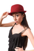 Brunette female in red hat isolated — Stock Photo