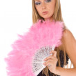 Female with pink hand fan isolated — Stock Photo