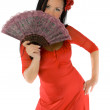 Allruning babe with hand fan isolated — Stock Photo