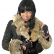 Sexy young babe in fur coat isolated - Stock Photo