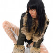 Sexy young babe in fur coat isolated — Stock Photo #1340580