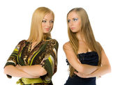 Couple of pretty young adult babe isolated — Stock Photo