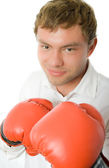 Clerk in in boxin gloves isolated — Stock Photo