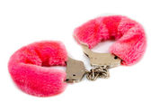 Pink fur handcuffs isolated — Stock Photo