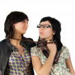 Two funny girls isolated — Stock Photo