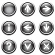 Black buttons with signs. — Stock Vector