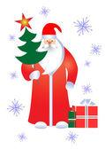 Santa mit Geschenken. — Stockvektor