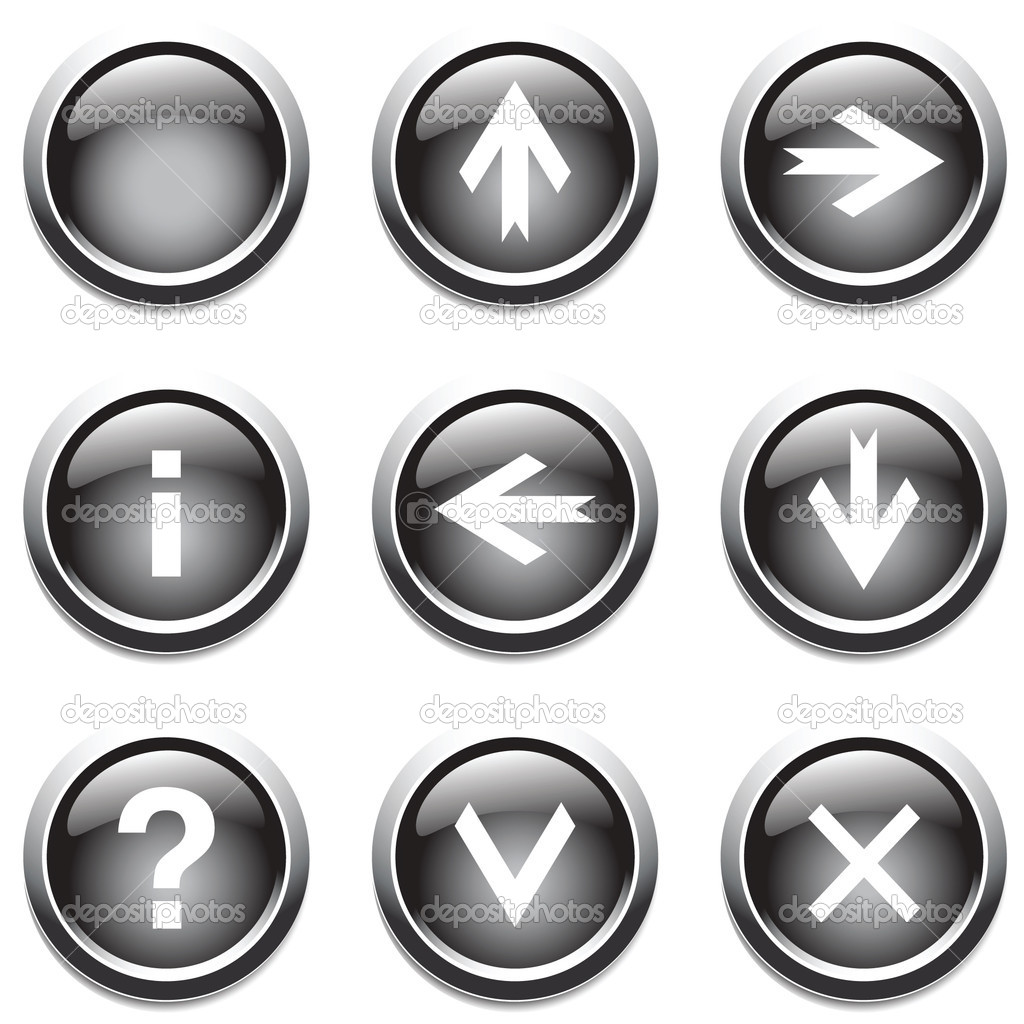 Black buttons with signs. Vector. — Stock Vector #1345385