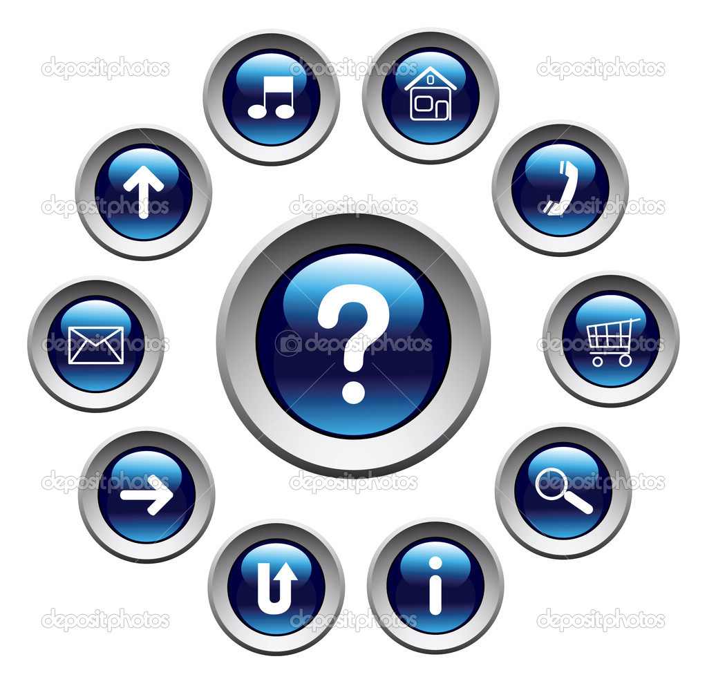 Glossy buttons with symbols. Vector. — Stock Vector #1367652