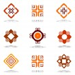 Design elements in warm colors. Set 3. — Imagens vectoriais em stock