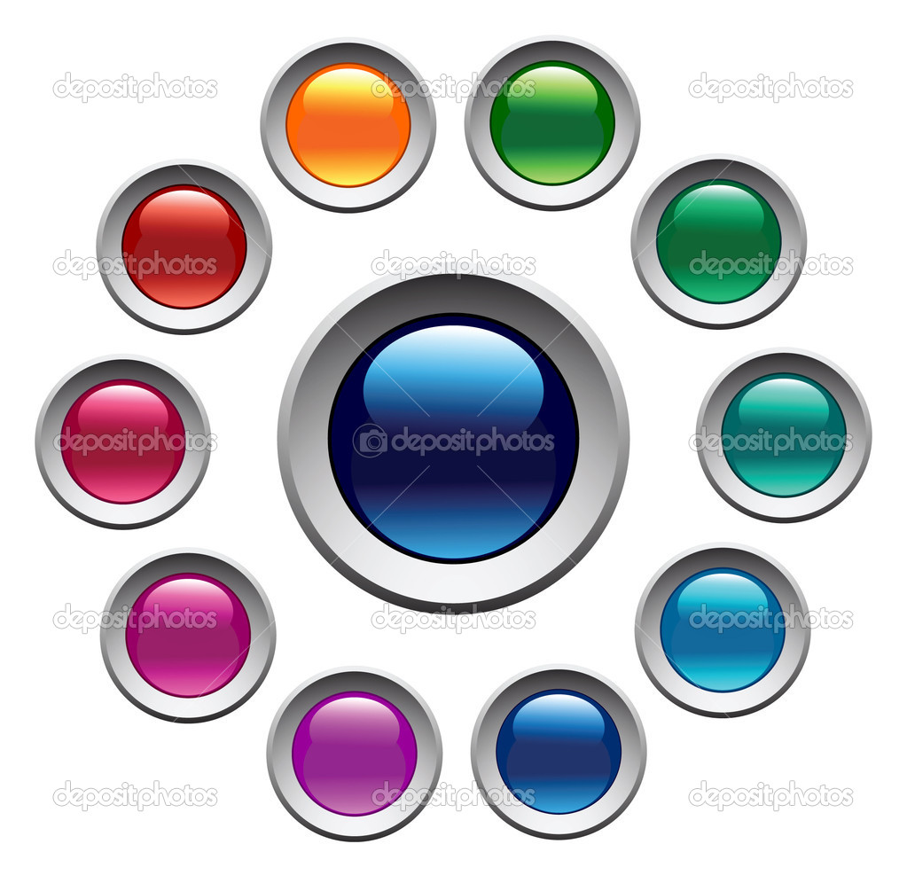 Glossy color buttons set. Vector. — Stock Vector #1389823